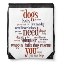 Dog Rescue Wordie Drawstring Backpack