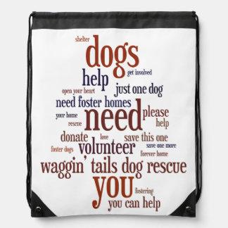 Dog Rescue Wordie Drawstring Backpack