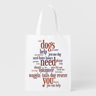 Dog Rescue Wordie Shopping Bag Grocery Bag