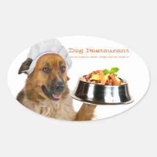 Dog Restaurant Oval Sticker