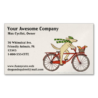 Dog Riding a Bicycle with Squirrel   Cute Animals Magnetic Business Card