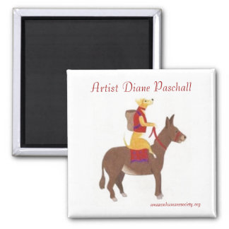 Dog riding a Donkey 2 Inch Square Magnet