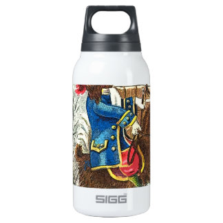 Dog riding a goat insulated water bottle