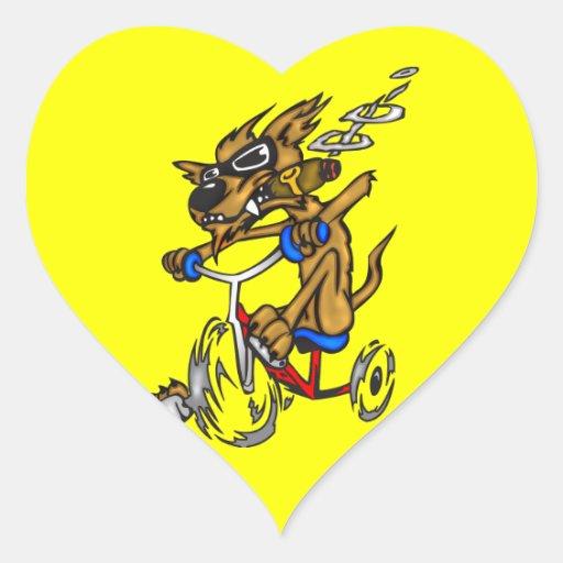 Dog Riding Bike Heart Sticker