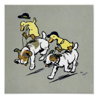 Dog-riding ducks poster