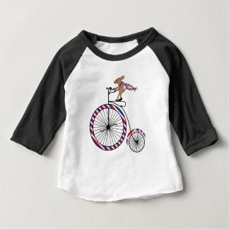 Dog Riding Old-Fashioned Bike on Baby T-Shirt