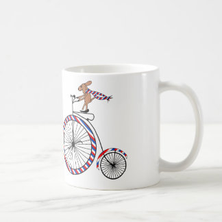 Dog Riding Old-Fashioned Bike on Coffee Mug