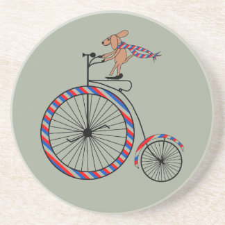 Dog Riding Old-Fashioned Bike on Drink Coasters
