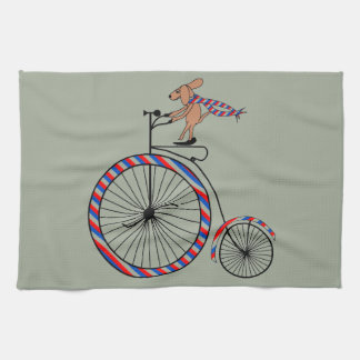 Dog Riding Old-Fashioned Bike on Hand Towel