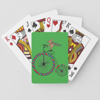 Dog Riding Old-Fashioned Bike on Playing Cards