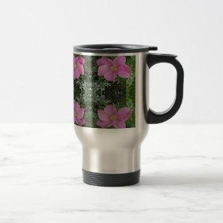 Dog roses in reflect coffee mug