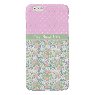 Dog Roses on Navy Polkas on Pink iPhone 6 Case