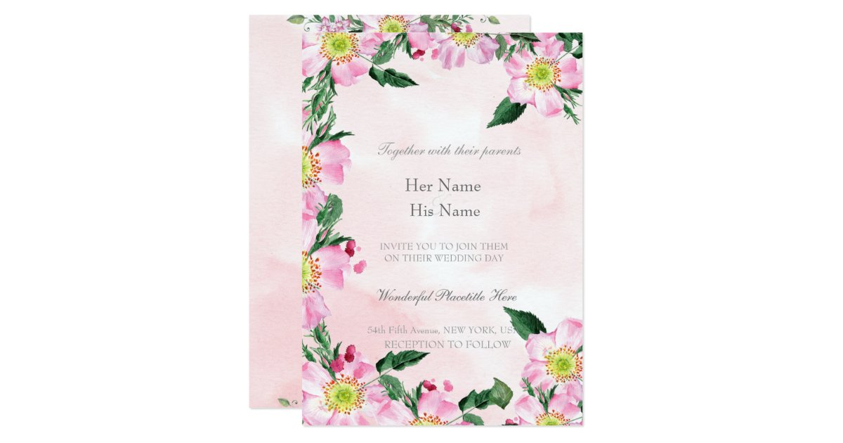 Dog Roses On Pink Background Wedding Invitation Zazzlecom