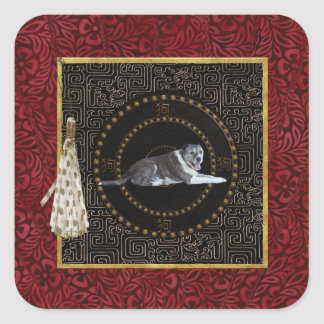 Dog, Round Shape, Dog in Chinese, Tassel with Dots Square Sticker