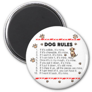 Dog Rules 2 Inch Round Magnet