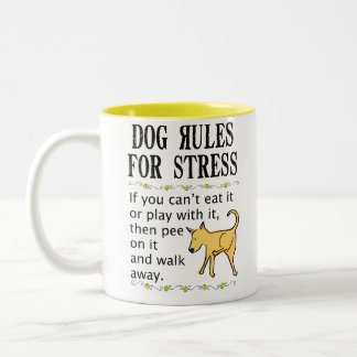 Dog Rules for Stress Two-Tone Coffee Mug