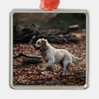 Dog running on dry leaves metal ornament