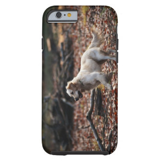 Dog running on dry leaves tough iPhone 6 case