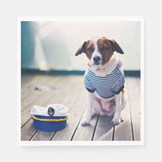 Dog Sailor Sitting Cap Clothes White Nautical Standard Luncheon Napkin