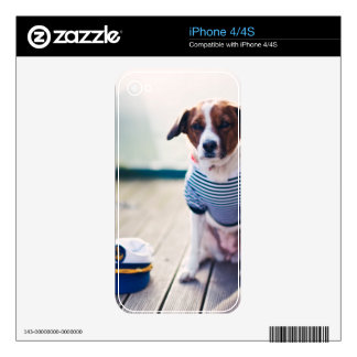 Dog Sailor Sitting Cap Clothes White Nautical Decals For The iPhone 4