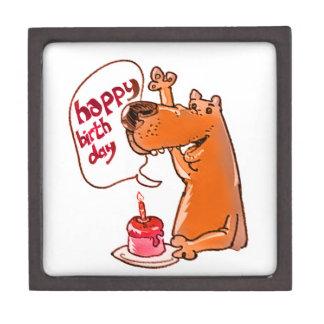 dog says happy birthday cartoon style jewelry box