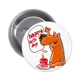 dog says happy birthday cartoon style pinback button