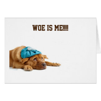 DOG SAYS WOE IS ME FOR CELEBRATING YOUR BIRTHDAY CARD