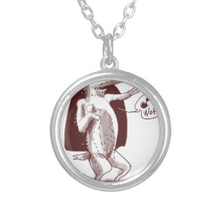 dog says wof silver plated necklace