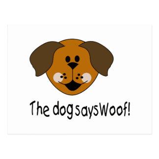 Dog Says Woof Postcard