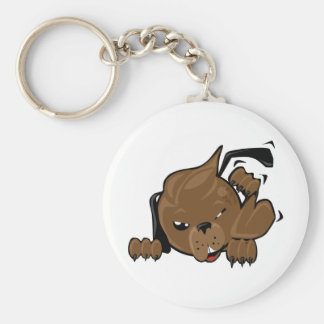 dog scratching smiley keychain