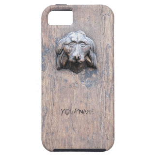 Dog sculpted on wood door iPhone SE/5/5s case