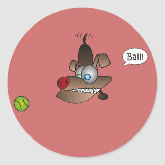Dog Sees Ball Classic Round Sticker