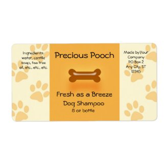 Dog Shampoo Soap Label (orange)