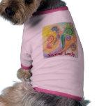 "Dog Shirt with Swirly Bird Design and ""Sweet Lady"""