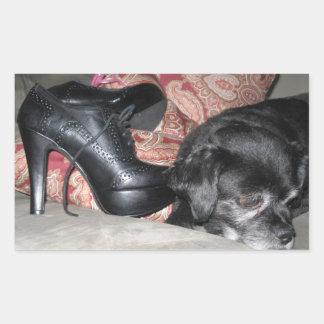 dog shoe magnet rectangle sticker