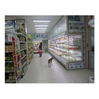 Dog shopping postcard