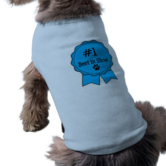Dog Show Best in Show Blue Ribbon with Paw Print Shirt