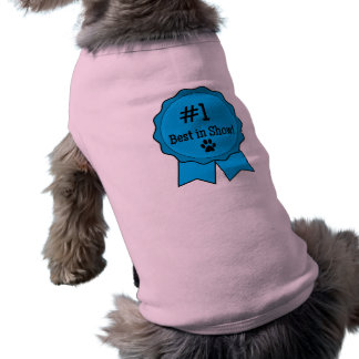 Dog Show Best in Show Blue Ribbon with Paw Print Tee