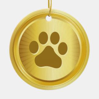 Dog show winner gold medal ceramic ornament