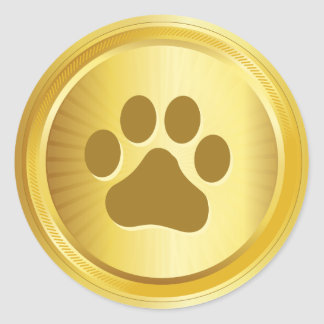 Dog show winner gold medal classic round sticker