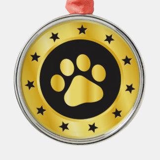 Dog show winner gold medal metal ornament
