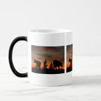 Dog Silhouette at Sunset 11 Oz Magic Heat Color-Changing Coffee Mug
