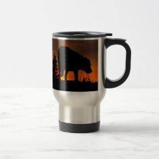 Dog Silhouette at Sunset 15 Oz Stainless Steel Travel Mug