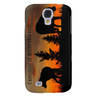 Dog Silhouette at Sunset; Customizable Galaxy S4 Covers