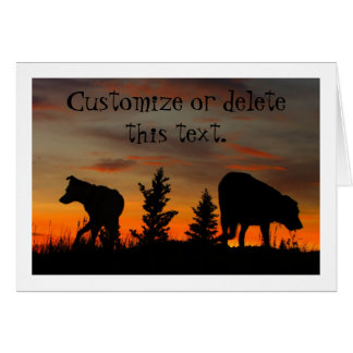 Dog Silhouette at Sunset; Customizable Greeting Card