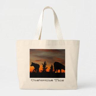 Dog Silhouette at Sunset; Customizable Jumbo Tote Bag