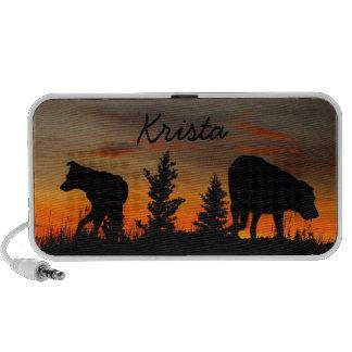 Dog Silhouette at Sunset; Customizable Mini Speakers