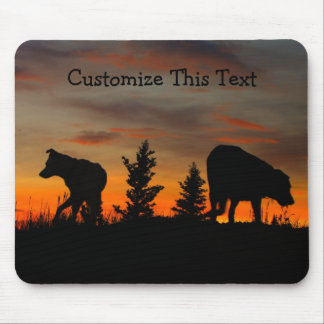Dog Silhouette at Sunset; Customizable Mouse Pad