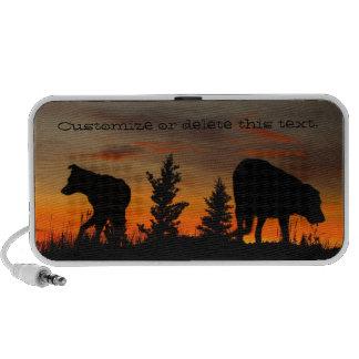 Dog Silhouette at Sunset; Customizable Mp3 Speaker