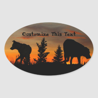 Dog Silhouette at Sunset; Customizable Oval Sticker